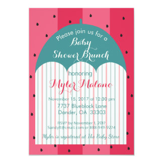 "Baby Shower Invitation ""Watermelon Umbrella"""