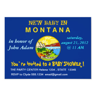 Baby Shower Invitation with Flag of Montana