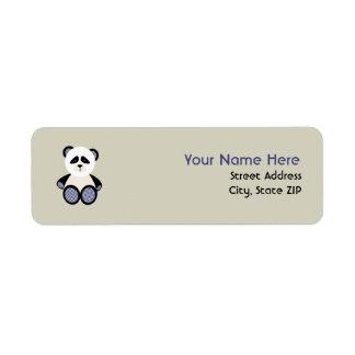 Baby Shower Label - Blue Gingham Panda