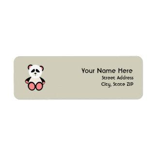 Baby Shower Label - Red Gingham Panda Return Address Label