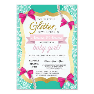 Baby Shower Mint Lace Gold Pearls Bows Girl Invite