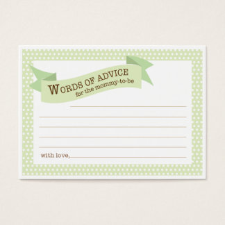 Baby Shower Mommy Advice Card | Green