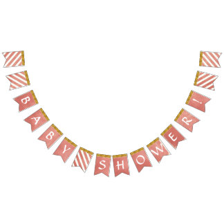 Baby Shower Party Decor Coral Faux Gold Glitter Bunting