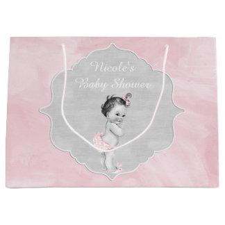 Baby Shower Pastel Pink Vintage Little Girl Large Gift Bag