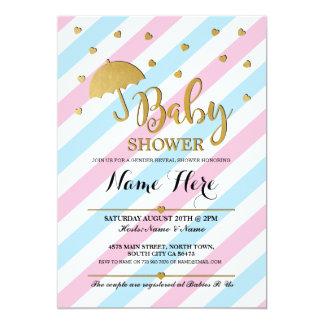 Baby Shower Pink Blue Gender Reveal Twins Invite