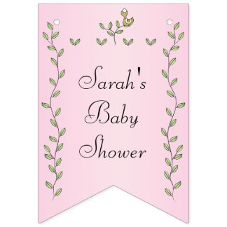 "Baby Shower Pink ""Gold Birds,"" Swallowtail Banner"
