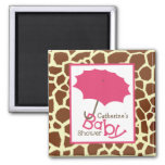 Baby Shower - Pink Umbrella and Giraffe Print