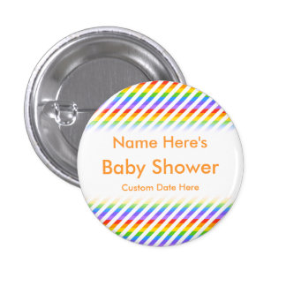Baby Shower. Stripes with Rainbow Colors. 3 Cm Round Badge