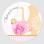 Baby Shower Tea Party Favour Sticker  |  Girl