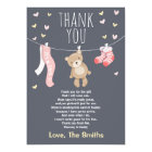 Baby Shower Thank You Card Teddy Bear pink girl