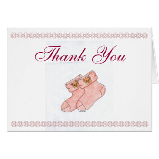 Baby Shower Thank You Card w/ Cute Booties (Pink)