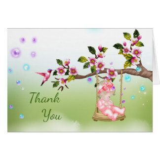 Baby Shower Thank You Card with Baby in swing