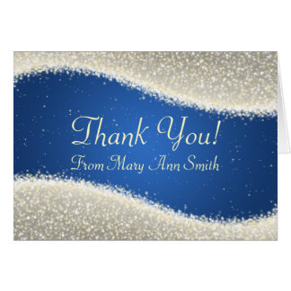 Baby Shower Thank you Dazzling Sparkles Blue Card