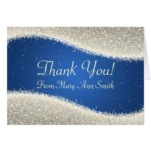 Baby Shower Thank you Dazzling Sparkles Blue Greeting Cards