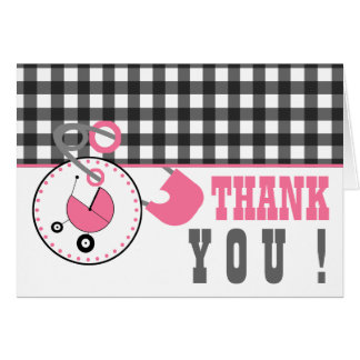 Baby Shower Thank You - Gignham & Diaper Pin Greeting Card