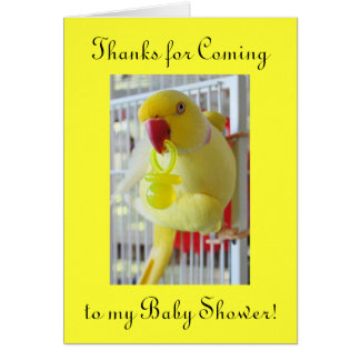Baby Shower Thank You Indian Ringneck Card