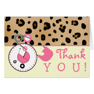 Baby Shower Thank You - Leopard Print & Diaper Pin Greeting Card