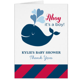 Baby Shower Thank You | Nautical Whale Theme Note Card