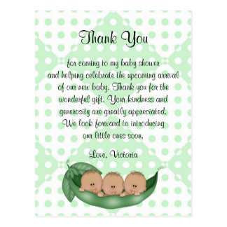 Baby Shower Thank You Triplets Peas in a Pod Postcard