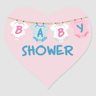 Baby Shower with Baby Clothes Heart Sticker