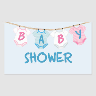 Baby Shower with Baby Clothes Rectangular Sticker