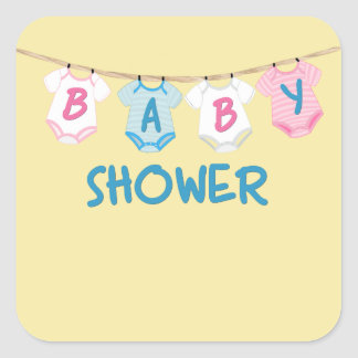 Baby Shower with Baby Clothes Square Sticker