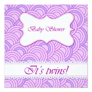 Baby shower with circle pattern lilac 13 cm x 13 cm square invitation card