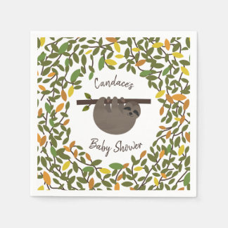Baby Sloth Autumn Greenery Baby Shower Disposable Napkin