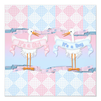 Baby Storks for Baby Gender Reveal Card