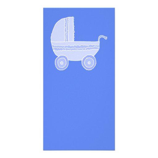 Baby Stroller. Light Blue on Mid Blue. Photo Card