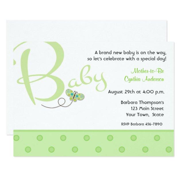 baby text green baby shower invitation | zazzle, Einladungsentwurf