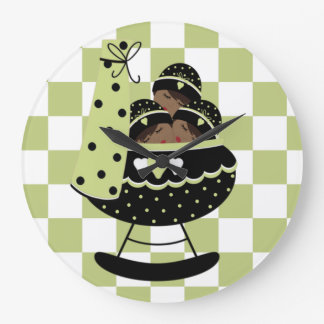Baby Triplets Green and Black Clock