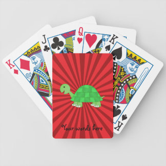 Baby turtle in green fade bicycle playing cards