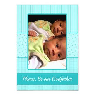 Baby Twin Boys be my Godfather Invitation