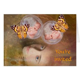 Baby twin boys or girls greeting card