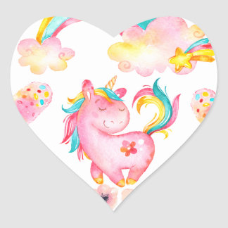Baby unicorn playing in her garden Multi products Heart Sticker