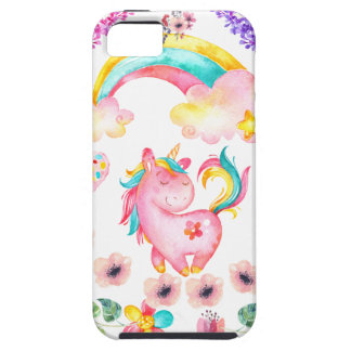 Baby unicorn playing in her garden Multi products iPhone 5 Covers