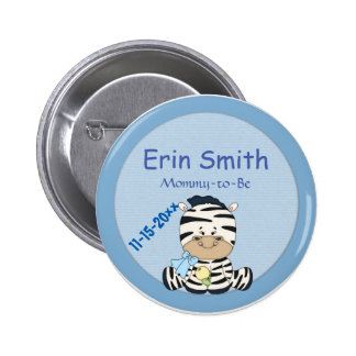 Baby Zebra, Customizable Baby Shower & Mommy to Be 6 Cm Round Badge