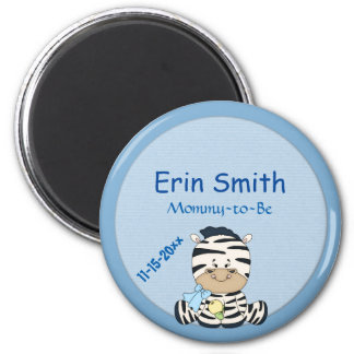 Baby Zebra, Customizable Baby Shower & Mommy to Be 6 Cm Round Magnet