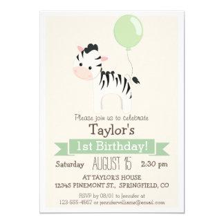 "Baby Zebra Kid's Birthday Party Invitation 5"" X 7"" Invitation Card"