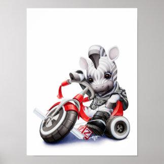 Baby Zebra Riding Red Tricycle Nursery Print