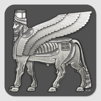 Babylonian Winged Bull Lamassu Square Sticker