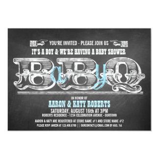 Babyq (boy) Baby Shower Barbeque Invitations