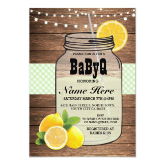 BaByQ Gender Reveal Baby Shower Green Check Invite
