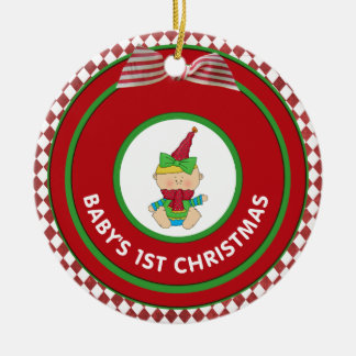 Babys 1st Christmas Holiday Girl Elf Personalized Christmas Ornament