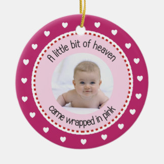 Babys 1st Christmas Photo, Name, Birth Date, Pink Christmas Ornament