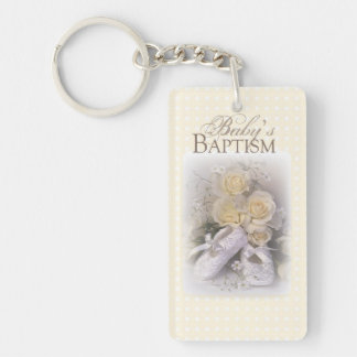 Baby's Baptism Neutral ,  Customizable Name, Double-Sided Rectangular Acrylic Key Ring