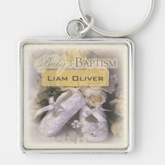 Baby's Baptism Neutral ,  Customizable Name, Silver-Colored Square Key Ring
