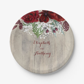 Baby's Breath and Burgundy Flowers Rustic Wedding Paper Plate