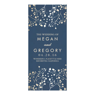 Baby's Breath Gold and Navy Wedding Programs Rack Cards
